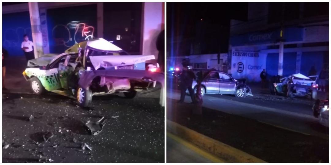 Conductor ebrio provoca choque en avenida Juárez; 2 personas lesionadas