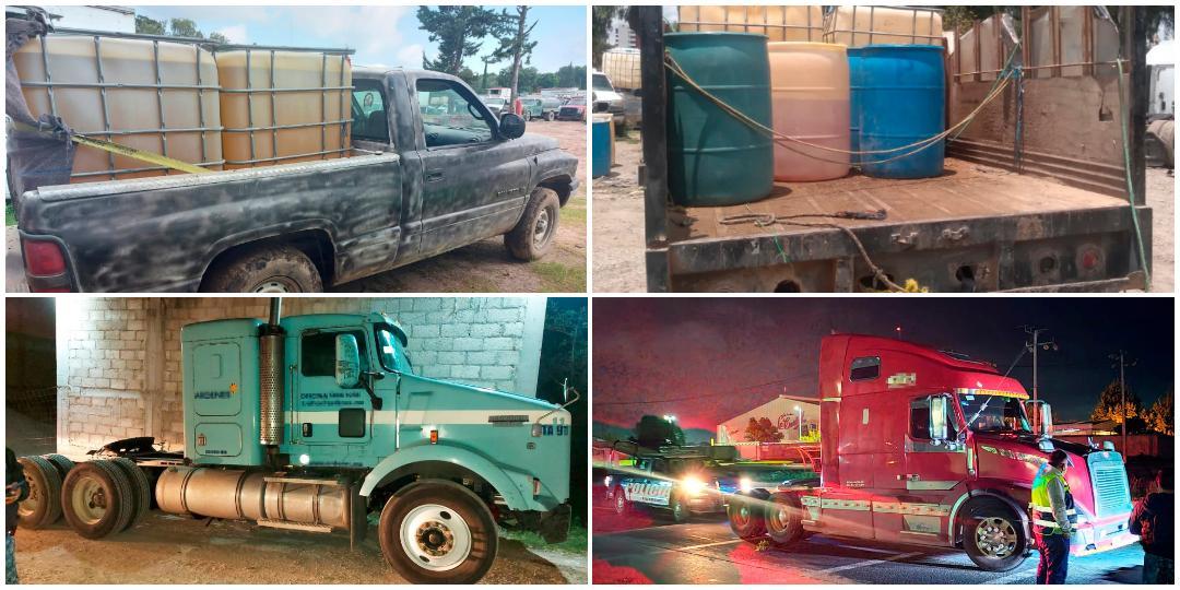 Recuperan 2 tractocamiones robados y aseguran 3 camionetas con hidrocarburo, en región Tula