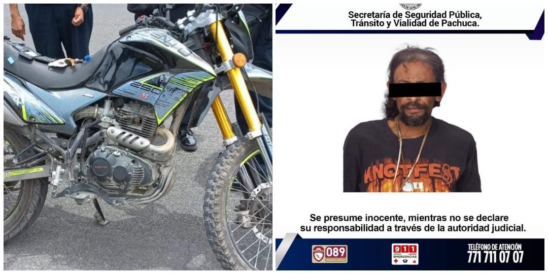 Aseguran a sujeto por viajar en moto robada y con droga, en Pachuca